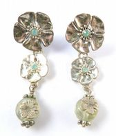 Silver Flower Drop Earrings By Pilgrim.